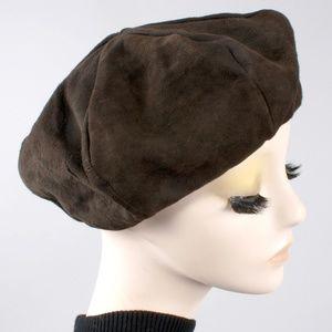 Vintage 60s Buckskin Suede Leather Beret Tam Hat